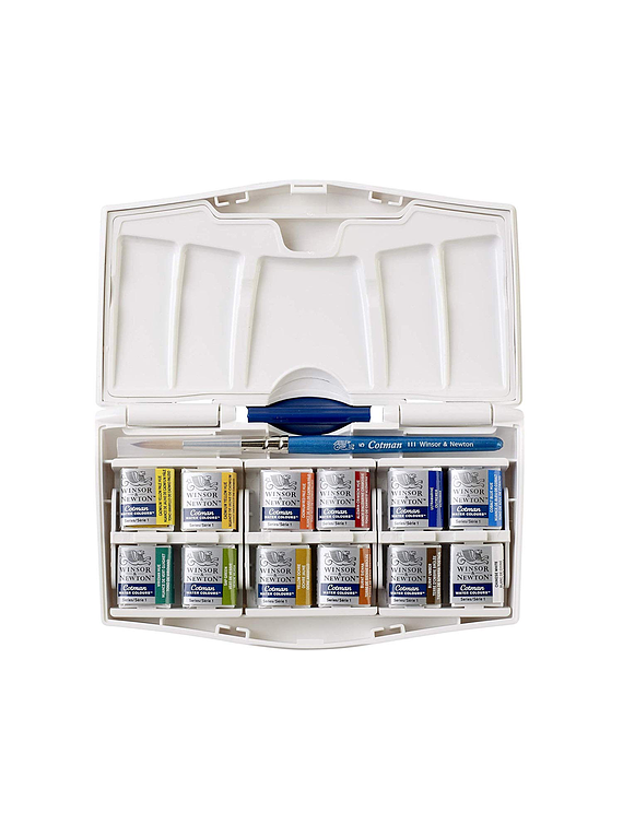 Winsor & Newton Cotman - Set 12 Acuarelas Pocket Plus, Medias Pastillas + Pincel