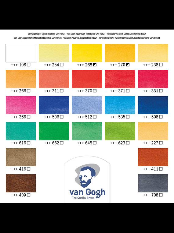Van Gogh - Set 24 Acuarelas en Caja de Madera; Pastillas + Accesorios