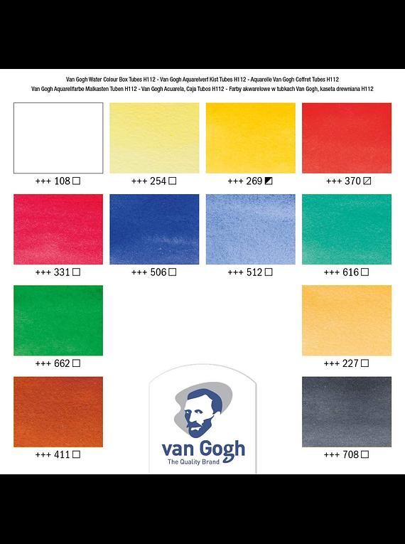 Van Gogh - Set 12 Acuarelas en Caja de Madera; Tubos 10 ml + Accesorios