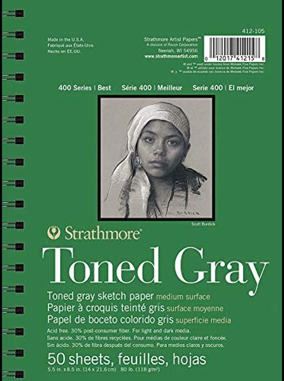Strathmore Toned Gray - Croquera 14 x 21,6 cm 118 gr/m2 50 hojas