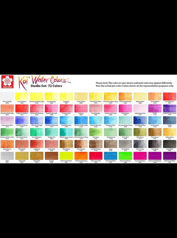 Sakura Koi - Set 72 Acuarela Water Colors; Caja Estudio