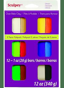 Sculpey III - Arcilla Polimérica Multipack Colores Clásicos 12 x 28 g