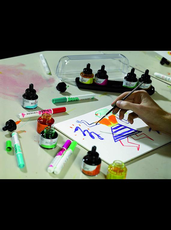 Royal Talens Ecoline - Set 10 Acuarelas Líquidas Mixing Colours; Frascos 30 ml con Gotero