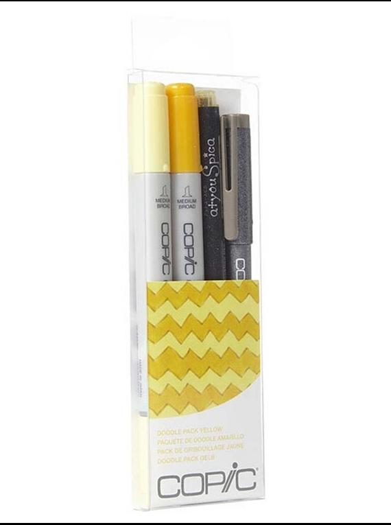 Copic Doodle - Kit Marcadores Amarillos; Ciao Markers, Tiralíneas Multiliner y Atyou Spica