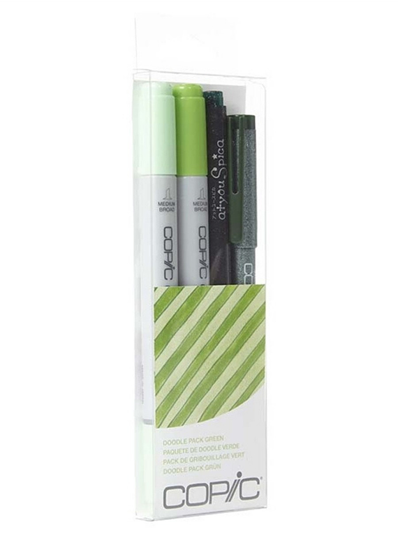 Copic Doodle - Kit Marcadores Verdes; Ciao Markers, Tiralíneas Multiliner y Atyou Spica