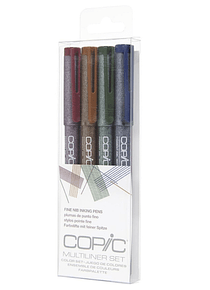 Copic Multiliner - Set 4 Tiralíneas Colores; Punta 03