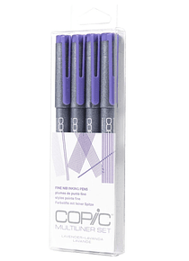 Copic Multiliner - Set 4 Tiralíneas Lavanda; Puntas 005-01-03-05