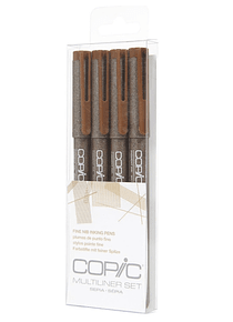 Copic Multiliner - Set 4 Tiralíneas Sepia; Puntas 005-01-03-05