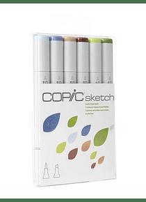 Copic Sketch - Set 6 Marcadores Earth Essentials; Colores Naturales Esenciales