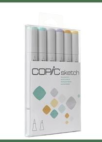 Copic Sketch - Set 6 Marcadores Pale Pastels; Colores Pastel Tenue