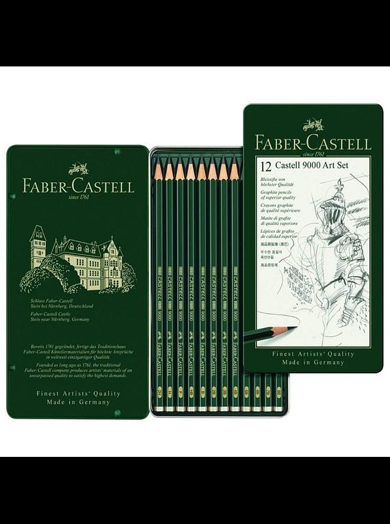 Faber Castell 9000 - Set 12 Lápices Grafito B, Bellas Artes