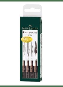 Faber Castell Pitt - Set 4 Tiralíneas Sepia