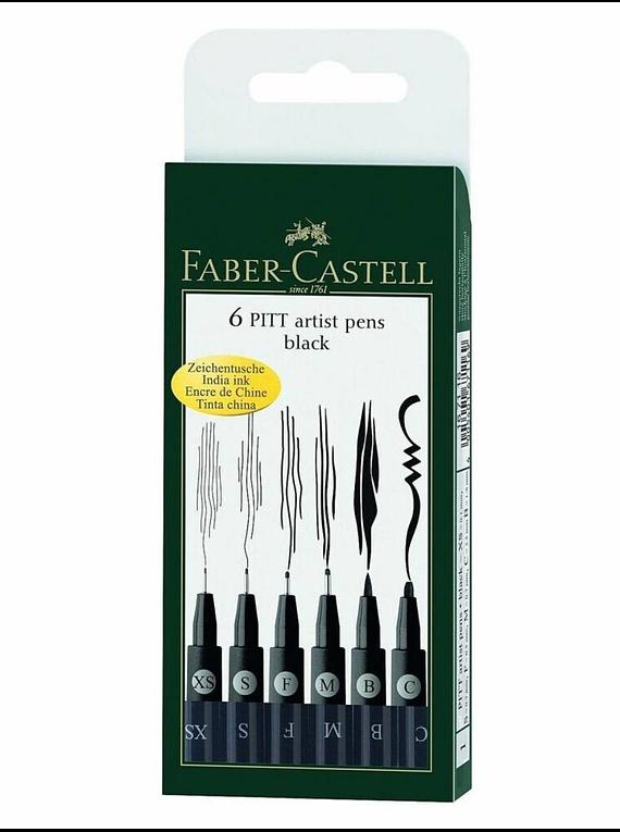 Faber Castell Pitt - Set 6 Tiralíneas Negro; Surtidos