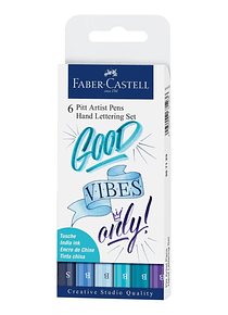 Faber-Castell Pitt Artist Pen - Kit Lettering Good Vibes Only; Tinta China Pigmentada