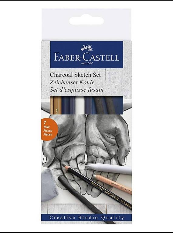 Faber Castell - Kit Dibujo Charcoal Sketch Set; Carbon 7 Piezas