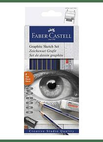 Faber Castell - Kit Dibujo Classic Sketch Set; Pastel y Grafito, 8 Piezas