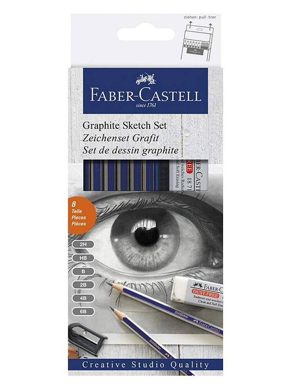 Faber Castell - Kit Dibujo Classic Sketch Set Grafito, 8 Piezas