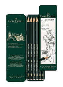 Faber Castell 9000 - Set 6 Lápices Grafito HB, B, 2B, 4B, 6B, 8B