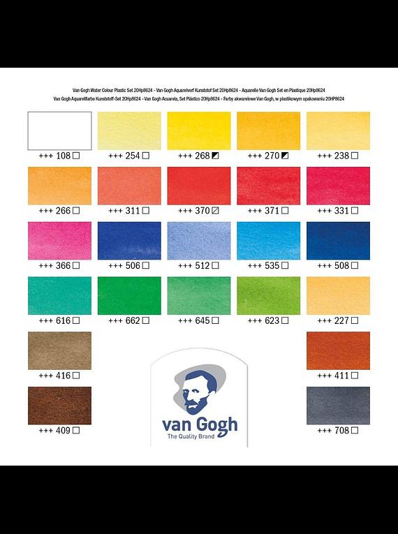 Van Gogh - Set 24 Acuarelas Colores Básicos; Medias Pastillas