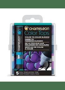 Chameleon Color Tops - Set 5 Marcadores Tonos Fríos