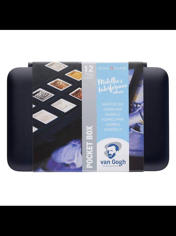 Van Gogh Pocket Box - Set 12 Acuarelas Metálicos e Interferencia