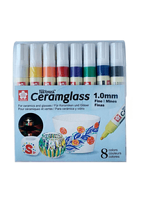Sakura Pen-Touch Ceramglass - Set 8 Marcadores para Cerámica; 1 mm