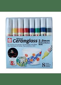 Sakura Pen-Touch Ceramglass - Set 8 Marcadores para Cerámica; 2 mm