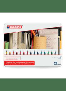 Edding 55 - Fineliner Set 16 Tiralíneas de Colores Punta 0.3