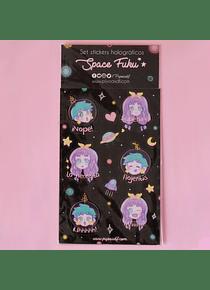 Piyoasdf - Pack Stickers Space Fuku Holográficos