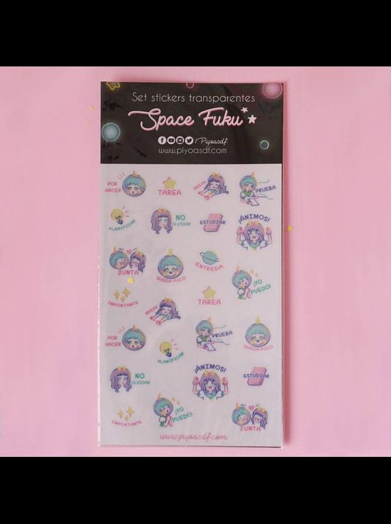 Piyoasdf - Pack Stickers Space Fuku Transparentes