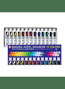 Sakura Acryl Gouache - Set 12 Colores Gouache Acrílico