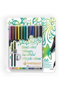 Chameleon Fineliners - Set 12 Tiralíneas Colores Brillantes