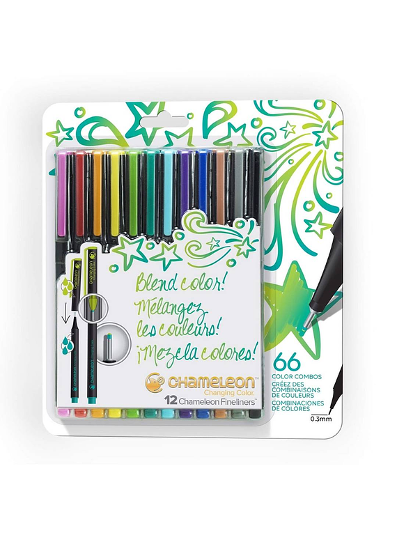 Chameleon Fineliners - Set 12 Tiralíneas Colores Brillantes