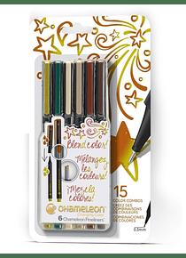 Chameleon Fineliners - Set 6 Tiralíneas Colores Naturaleza