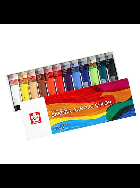 Sakura Acrylic Color - Set 12 Colores Acrílico en Tubos 20 ml