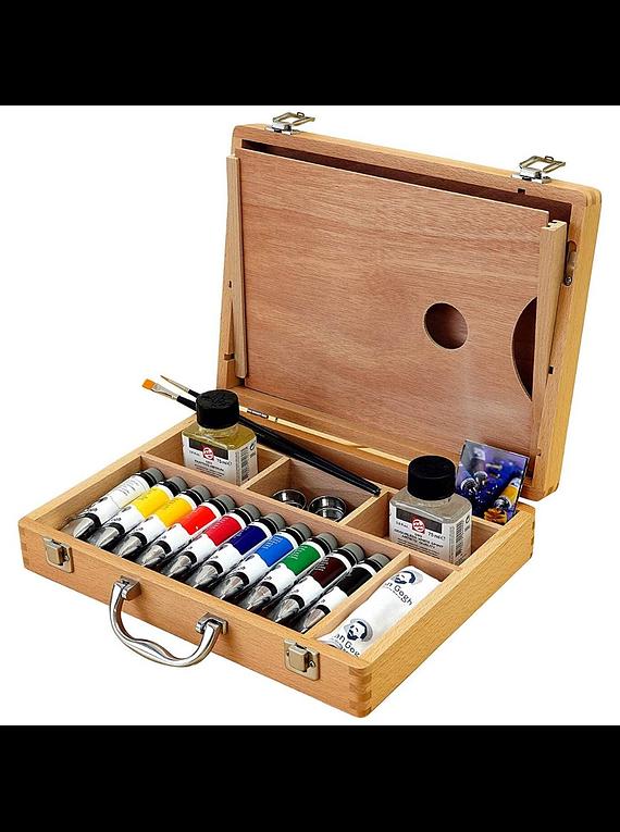 Colour - Kit Óleos en Caja de Madera; 10 Tubos de 40 ml y Accesorios