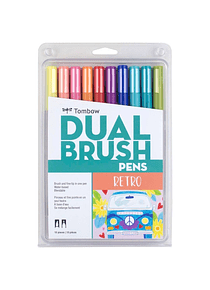 Tombow Dual Brush - Set 10 Marcadores; Colores Retro
