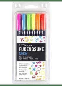 Tombow Fudenosuke - Set 6 Marcadores; Neon