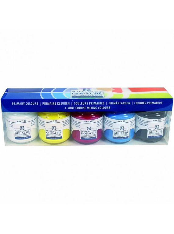 Royal Talens - Set 5 Pinturas Gouache Colores Primarios; Frascos 50 ml