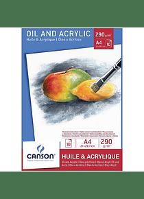 Canson Oil & Acrylic - Bloc Oleo y Acrílico A4 21 x 29,7 cm, 10 Hojas, 290 gr/m2