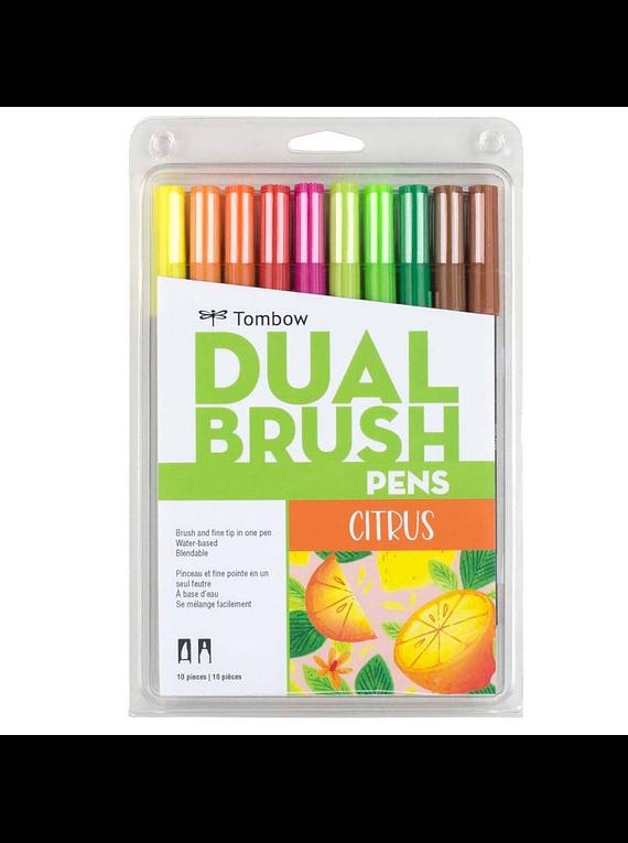 Tombow Dual Brush - Set 10 Marcadores; Citrus