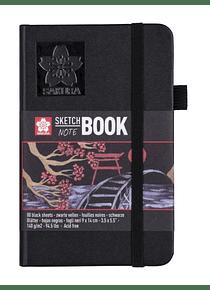 Sakura Sketch Note Book - Sketchbook Papel Negro; 9 x 14 cm, 80 Hojas, 140 g/m2