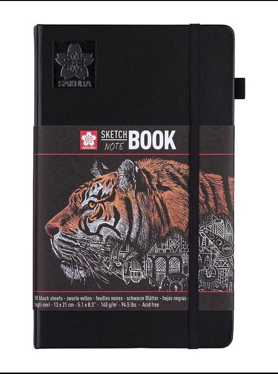 Sakura Sketch Note Book - Sketchbook Papel Negro; 13 x 21 cm, 80 Hojas, 140 g/m2
