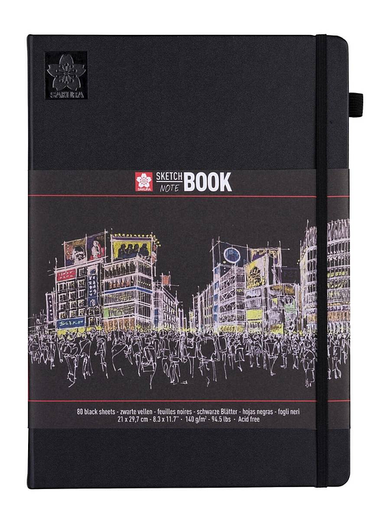 Sakura Sketch Note Book - Sketchbook PAPEL NEGRO; 21 x 30 cm, 80 Hojas, 140 g/m2