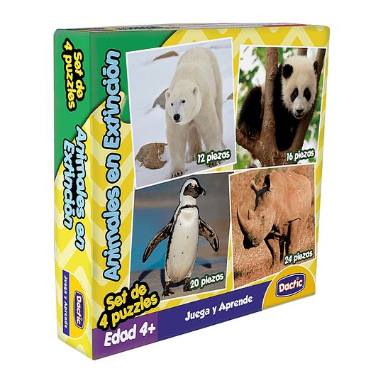 SET 4 PUZZLES ANIMALES EN EXTINCCÍON  12 PZAS/16 PZAS/20 PZAS