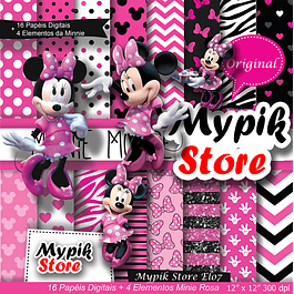 Kit digital para imprimir Minnie Rosa