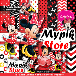 Kit Digital Minnie Vermelha Scrapbook - 54