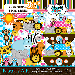 Kit Digital Arca de Noé Scrapbook - 03
