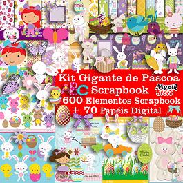 Kit Digital Scrapbook Pascua + Completo