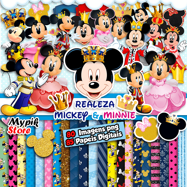 Kit Digital Mickey e Minnie Realeza